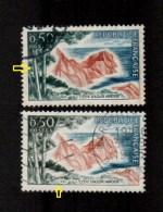 Variétés (o) 1391 *arbres à Gauche Vert-bleu, Date Dépouillée, Nuance Rouge  *  Variété Les 2 - Abarten: 1960-69 Gebraucht