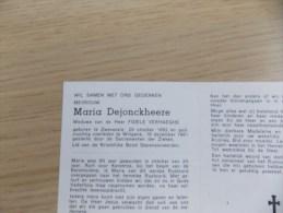 Doodsprentje Maria Dejonckheere Zwevelzele 20/10/1892 Wingene 19/12/1981 ( Fidele Verhaeghe ) - Religion & Esotericism