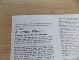 Doodsprentje Albert Wieme Wingene 10/9/1898 - 18/8/1982 ( Ivo Bousson ) - Religione & Esoterismo