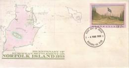 AUSTRALIA 1988 Norfolk Island Map Anniv FDC Postal Stationery Cover #1606 - Ganzsachen