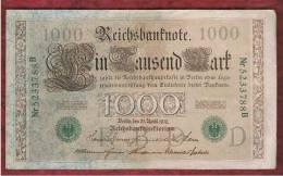 ALEMANIA - GERMANY - 1000 Mark 1910 MBC+   P-45b - [ 2] 1871-1918 : Impero Tedesco
