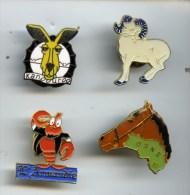 @+ Lot De 4 Pin´s Animaux : Cheval - Kangourou - Belier - Homard - Animals