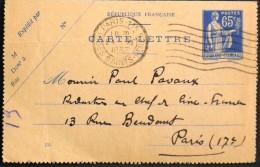 FRANCE 1937 - Type Paix - ENTIER POSTAL 365 ??? - CARTE LETTRE - Paris St Pères 24.11.1937 - Date 735 - TBE - - Tarjetas Cartas