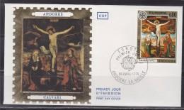 = Europa, Fresque De L'Eglise De La Cortinada, Calvari, Andorre La Vieille 26.4.75 Enveloppe 1er Jour Timbre N°243 - FDC