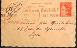 FRANCE 1931 - Type Paix - ENTIER POSTAL 283-CL1 - CARTE LETTRE - Valence 29.05.1931 - Date 512 - TBE - - Kaartbrieven
