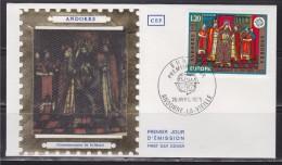 = Europa Fresque Eglise De La Cortinada Couronnement St Mari, Andorre La Vieille 26.4.75 Enveloppe 1er Jour Timbre N°244 - FDC