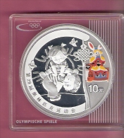 CHINA 10 YUAN 2008 SILVER PROOF 31.1 GR..999  OLYMPICS BEIJING 2008 CHILDREN PLAYING LEAPFROG PARTLY COLOURED - Chine
