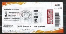 Ticket Football Mach Macedonia Vs Spain ( II ) - Tickets D'entrée