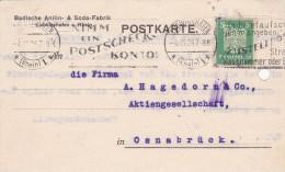 Ludwigshafen, Badische Anilin- & Soda-Fabrik - Fa. A. Hagedorn & Co., Aktiengesellschaft Osnabrück, 1924 - Cartas