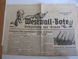 Allemagne Journal Allemand Westwall Bote 30 Août 1940 Feldzeitung Der Armée Militaire Militaria - Magazines & Newspapers