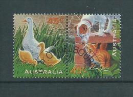 Australia 1996 Pets Kitten Dog Goose Joined Pair VFU Melbourne CTO - 2000-09 Elizabeth II