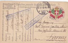 CARD  FRANCHIGIA MILITARE POSTA MILITARE 90  1.3.18  4° FANTERIA DI MARCIA +CENSURA+BOLLO AMMIN.  -FP-V-2-0882-24294 - Weltkrieg 1914-18