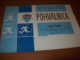 Old Football Commendation FSJ, Yugoslavia, Soccer, 1969 - Otros
