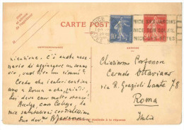 STORIA POSTALE 22 CARTOLINA POSTALE FRANCIA CARTE POSTALE REPUBLIQUE FRANCAISE VIAGGIATA 20 AGOSTO 1938 DA NIZZA NICE VE - Francia