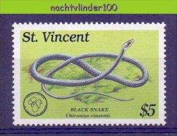 Naa2108 FAUNA REPTIELEN SLANGEN REPTILES BLACK SNAKE SCHLANGEN ST. VINCENT 1989 PF/MNH - Snakes