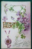 Litho Chromo Relief Illustrateur KOPAL 592 KLEIN NS Fete Violettes Sceau Trefle Dorure Art Nouveau Voyagé +- 1907 - Autres