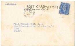 STORIA POSTALE 51 CARTOLINA POSTALE REGNO UNITO POST CARD VIAGGIATA 3 GIUGNO 1947 DA LONDRA VERSO ROMA CONDIZIONI BUONE - 1902-1951 (Kings)