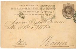 STORIA POSTALE 52 CARTOLINA POSTALE REGNO UNITO POST CARD VIAGGIATA 14 MARZO 1892 DA LONDRA VERSO ROMA CONDIZIONI BUONE - 1840-1901 (Regina Victoria)
