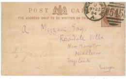 STORIA POSTALE 53 CARTOLINA POSTALE REGNO UNITO POST CARD VIAGGIATA 1884 DA NEWCASTLE ON TYNE VERSO NEW HAMPTON CONDIZIO - 1840-1901 (Regina Victoria)