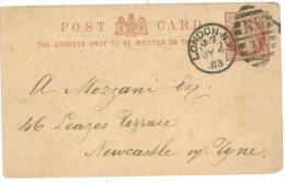 STORIA POSTALE 54 CARTOLINA POSTALE REGNO UNITO POST CARD VIAGGIATA 1883 DA LONDRA VERSO NEWCASTLE ON TYNE CONDIZIONI BU - 1840-1901 (Regina Victoria)