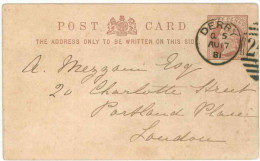 STORIA POSTALE 55 CARTOLINA POSTALE REGNO UNITO POST CARD VIAGGIATA 1881 DA DERBY VERSO LONDRA CONDIZIONI BUONE - 1840-1901 (Regina Victoria)
