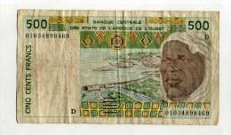 - ETATS DE L'AFRIQUE DE L'OUEST .  BILLET DE 500 F.  . - Billets
