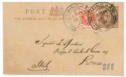 STORIA POSTALE 56 CARTOLINA POSTALE REGNO UNITO POST CARD VIAGGIATA SETTEMBRE 1896 DA BIRMIGHAM VERSO ROMA CONDIZIONI BU - 1840-1901 (Regina Victoria)