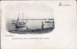 Suriname PPC Paramaribo Gezicht Op De Rivier, Corroniekotter Bij 't Vertek C. Kersten & Co. Simple Backside (2 Scans) - Suriname