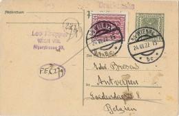 LBL33C - AUTRICHE EP CP WIEN / ANVERS 24/7/1922 REPIQUAGE AU VERSO - Postwaardestukken