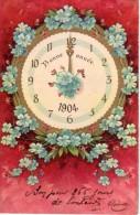 C.P.A Gaufrée De 1904 - Bonne  Année  - Pendule Du Temps 1904 - Bon Pour 365 Jours De  Bonheur - Non Divisé - Nouvel An