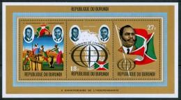 1972 Burundi  X° Indipendenza Silver Gold Printed Set 2 Block MNH** UL38 - Burundi