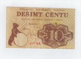 LITHUANIA 10 Centu Zemaiciu Market  Siauliai  1989  VF+ - Lituanie