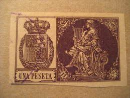 Una Peseta Lira Lyre Musica Music Tasa Poliza Fiscal Oficial Official Revenue Stamp Tax Due Spain España - Revenue Stamps