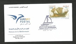 2015- Tunisia- Boats In Euromed, Joint & Common Issue –FDC - Tunesië (1956-...)