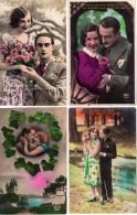 Lot De 4 C.P.A Des Années 1930 - Couples - Amour - Secret -Baisers - Romantiques - Amoureuses - Robes - Tenues - Donne
