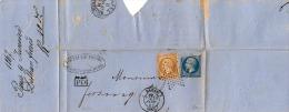 FRANKREICH 1867 - 2 Fach Frankierung Auf Briefstück - Paris - Basel - PD - Dethan - 1863-1870 Napoleon III With Laurels