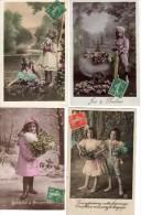 Lot De 4 C.P.A Des Années 1930 -Fillettes - Bonheur - Amour - Baisers - Romantiques - Amoureuses - Robes - Tenues - Donne