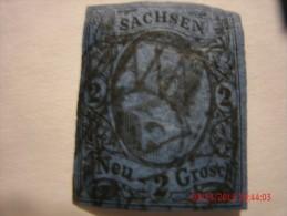 SAXONY, SCOTT# 11, 2ng BLACK ON BLUE, USED - Saxony