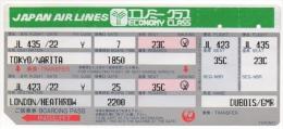 Ticket/Carte D'Embarquement Avion. Japan Air Lines. Tokyo/Narita - London. - Boarding Passes