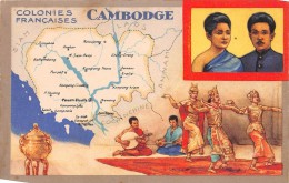 ASIE - CAMBODGE - Carte Géographique -  Colonies Françaises - Cambodge