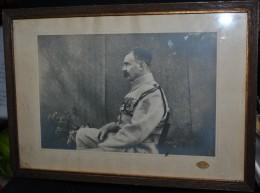 Rare Photo Sous Cadre D'un Soldat Du 123 Eme Ave Médailles Chevrons Et Fouragère - 1914-18