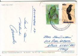 "Bahamas 2 Francobolli"" Pesce  Val 10c + Uccello Val 45 ""annullo Nave Cruise Posted Su Cartolina Costa Rica - Bahamas (1973-...)"