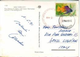 """Bahamas Francobollo"""" Pesce  Val 15c """"annullo Nave Cruise Posted Su Cartolina New York - Bahamas (1973-...)"""