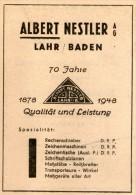 Original-Werbung/Anzeige 1948 - RECHENSCHIEBER / ZEICHENMASCHINEN / NESTLER - LAHR - Ca. 60 X 90 Mm - Publicités