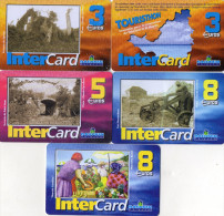 CARTES PREPAYEES DAUPHIN TELECOM SAINT-MARTIN 3e/3e/5e/8e/8e Inter Card  (lot De 5) 0566 - Antillen (Frans)