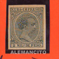 CUBA ESPAÑOLA -1896 Newspaper Stamps - King Alfonso XIII - Kuba (1874-1898)