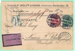 ALL2. Perfin/Perforé WOLLF. Parfumerie & Toilettenseifen. Karlsruhe 20.11.02 + Vignette. Nachnahme. - Briefe U. Dokumente