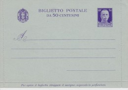 ITALIE ENTIER POSTAL CARTE LETTRE - 1900-44 Victor Emmanuel III