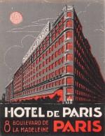 """02297 """"PARIS - HOTEL DE PARIS 8 BOULEVARD DE LA MADELEINE""""   ETIC. ORIG. - LUGGAGE LABEL - Hotel Labels"""