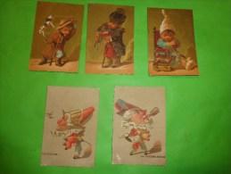 Chromo Caricature  Les Metiers-jocker-cirque-porteur-cheval -la Gourmandise-la Luxure (petit Corps Grosse Tete) - Non Classés